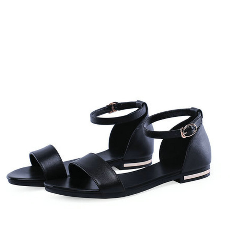 New Women's Real Genuine Leather Flat Sandals Bohemia Summer Beach Sandals Fashion Ladies Shoes Size 31-43