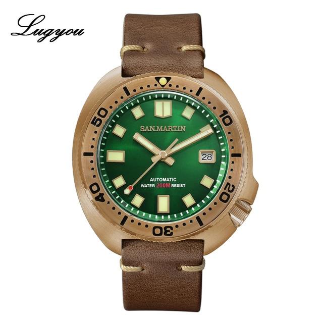 Lugyou San Martin Turtle Diver Men Watch Bronze CuSn8 Automatic NH35 Rotating Bezel 20Bar Sapphire Crystal Leather Strap C3 Lum