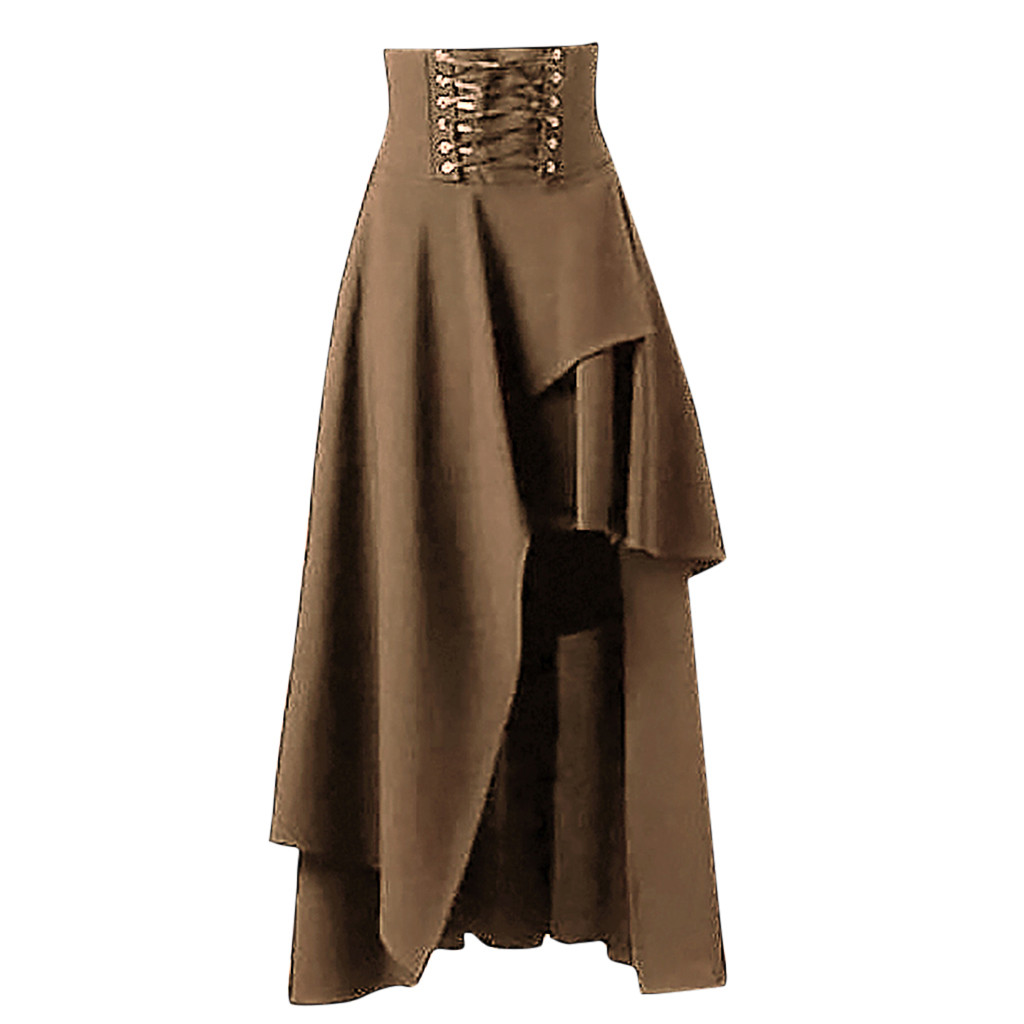Womail Irregular Party Long Asymmetrical Skirt Fashion Solid Gothic Layered Punk Lace Skirt Lace-Up Pure Color Vintage Skirt