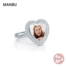 MANBU New Personalized custom ring with pohto 925 sterling silver rings for women pave setting CZ trendy customized jewelry gift