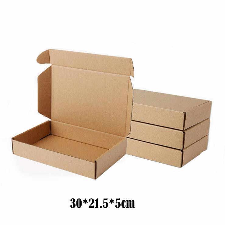 10 unids/lote 30*21,5*5cm marrón cajas de cartón para artesanías negocios Express de embalaje de entrega de empaquetado de paquete de papel de caja de envío