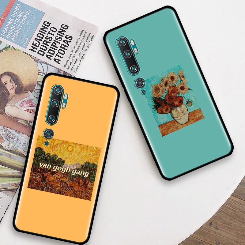 Silicone Case For Ximaomi Mi 9 10 Pro 5G 9T CC9 CC9E Note 10 Pro A1 A2 8 Lite Poco X2 F1 Cover Fundas Van Gogh Starry Night