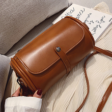 Female Drum Bag Personality Fashion Woman PU Leather Solid Shoulder Youth Lady High Quality Daily Pack Waterproof Retro