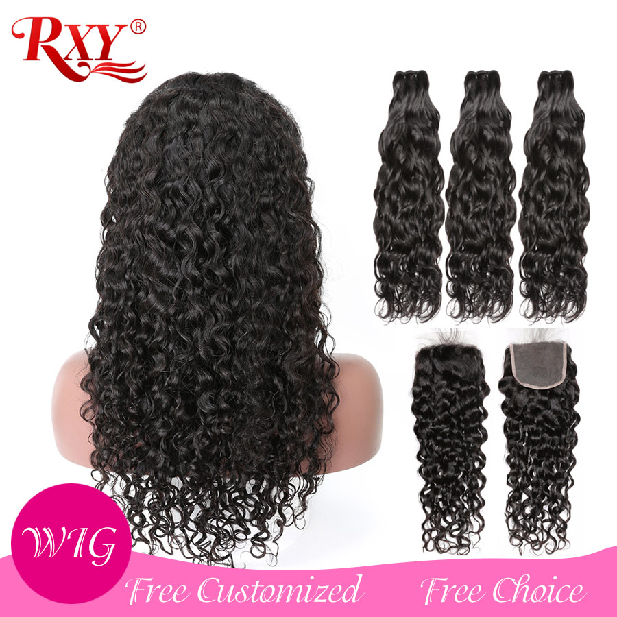 Brazilian Hair Closure Wigs Bundles Hair Can Be Customized Into A Wig Water Wave Hair Bundles With Closure Human Hair RXY Remy