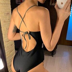 Image 4 - 2021ワンピース水着女性のセクシーな浴女メッシュプッシュアップ水着スーツ女性のビーチスーツ溶融水泳スーツ