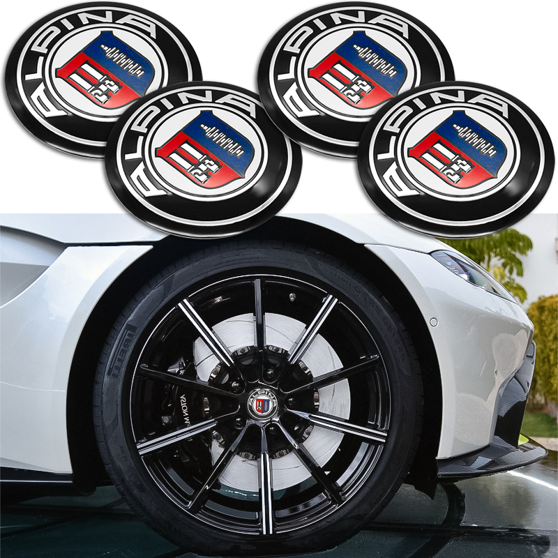 4PCS 56mm Car ALPINA badge emblem Wheel Center Hub Cap Sticker For BMW E46 E39 E90 E60 E36 F30 X5 E53 F10 Auto accessories image