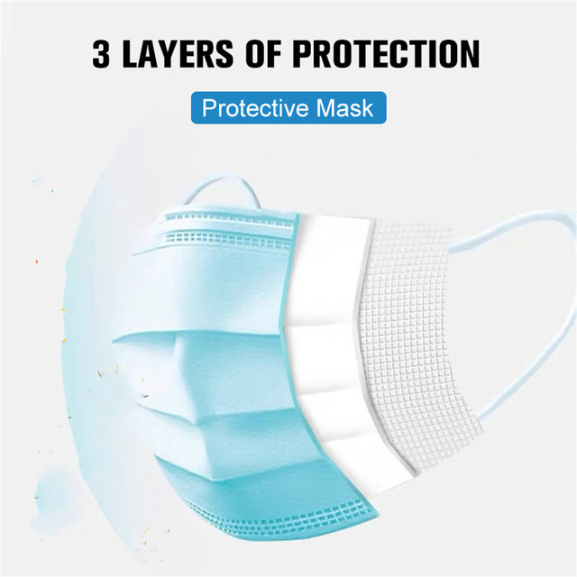 Mask Disposable Nonwove 3 Layer Ply Filter Mask Mouth Face Mask Filter Safe Breathable Protective Masks 48 Hours Shipping 3