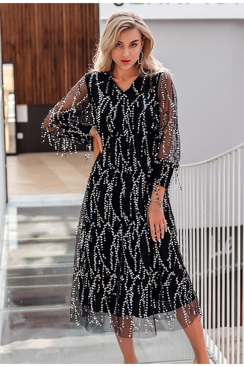 Black V-Neck Long Sleeve Sequin Dress 5