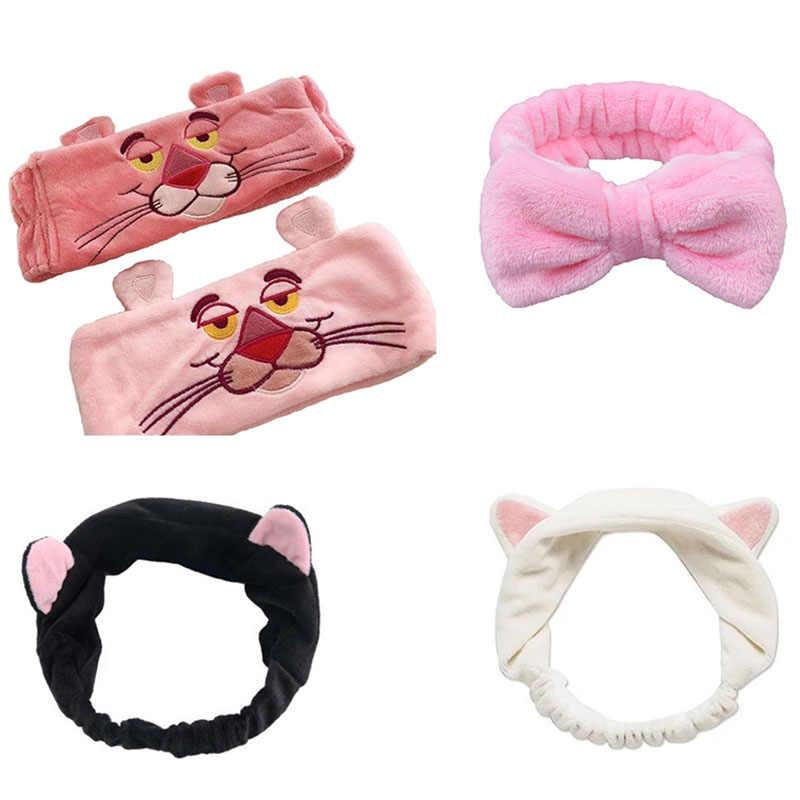 Women Girls PU Leather Makeup Headband Wash Face Turban Bow Hair Band Hairbands