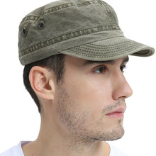 Women Men Army Cap Solid Color Stylish Military Flat Cap Sun Hat Washed Cotton Flat Top Hat(China)