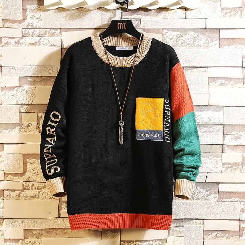 Мужской свитер с длинным рукавом, черный вязаный пуловер оверсайз с круглым вырезом, большие размеры 5XL, Осень-зима 2020