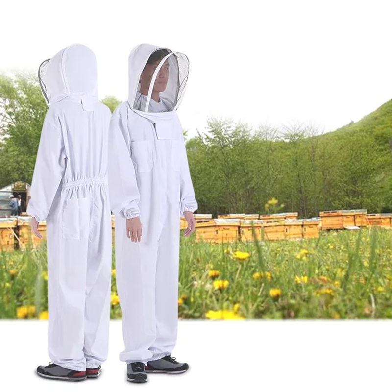 Clothing Safely-Clothes Bee-Suit Beekeeper Smock Cotton Thicken White Full-Body