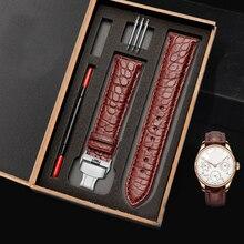 תנין עור רצועת שעון שחור חום צמיד עור אמיתי בנד 12mm 20mm 24mm רצועת שעון accessoriesGift תיבה אריזה