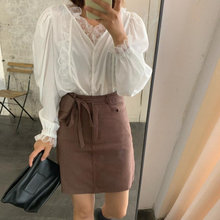 Alien Kitty Korean Style Chic 2020 Office Lady Fashion Lace Gentle Hot V-Neck All-Match Office Lady