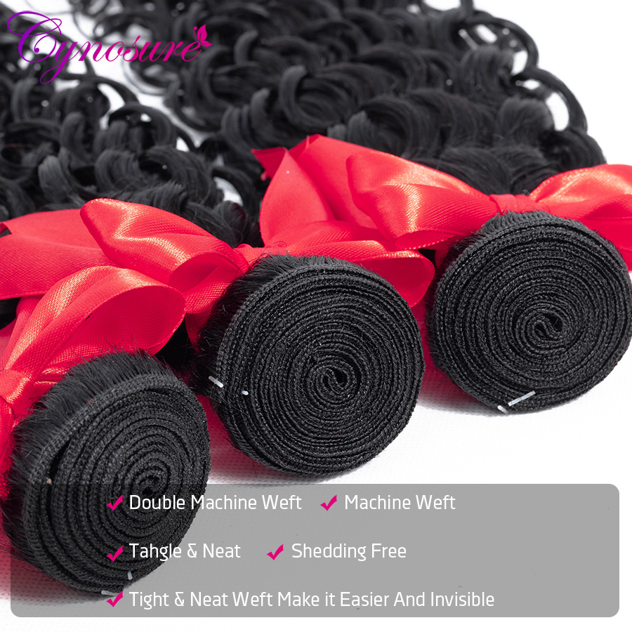 H6700bc3163f445ac8c5dbdf1d21e291dt Cynosure Human Hair Water Wave Bundles with Closure Double Weft Brazilian Hair Weave 3 Bundles With Closure Remy