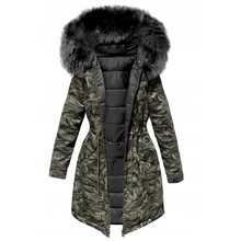 Cotton Padded Jacket Camouflage Parka Women Long Overcoats Winter Warm Thick Female Casual Military Fur Tops Jackets Coats 2019