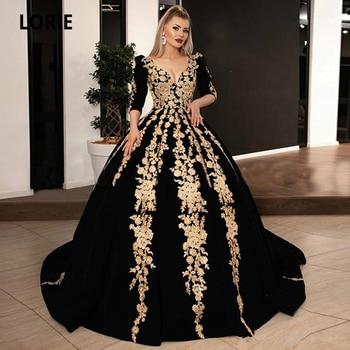 Black Velvet Formal Evening Dresses Plus Size 2020 V-neck Half Sleeve Sparkly Gold Lace Applique Kaftan Caftan Arabic Prom Gowns - discount item  33% OFF Special Occasion Dresses