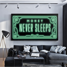 Money Never Sleep Canvas Painting Nordic Quotes Letter Posters and Prints Inspirational Decorative Wall Picture Office