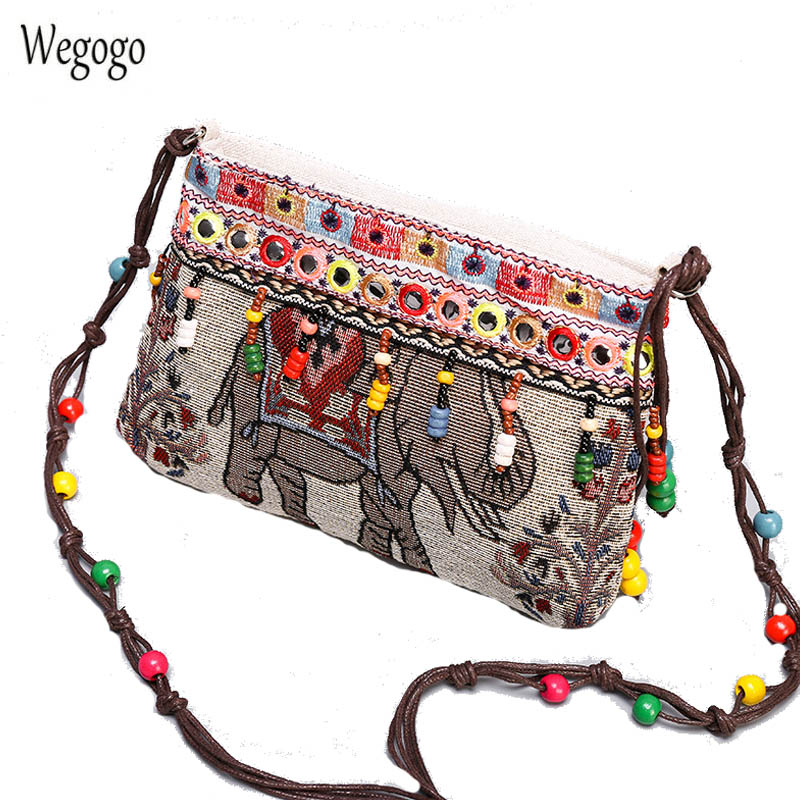 Vintage Women Messenger Bags Canvas Bead Chain Bag Small Coin Purse Cross-body Bag Ethnic Embroidered Mini Day Clutch Woman