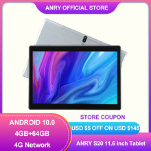 ANRY N60 10.1 Inch Android 10 Tablet 4G Network Octa Core SC9863A 4GB+ 64GM ROM IPS 1920x1200 AI Speed-up Tablets PC 2.4/5G Wifi
