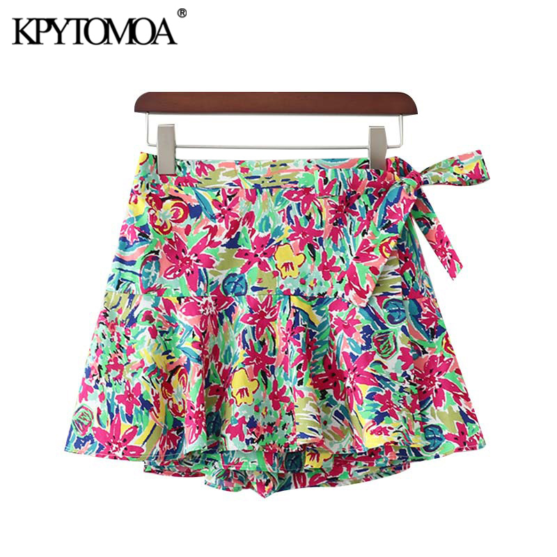 KPYTOMOA Women Chic Fashion Floral Print Bow Tie Shorts Skirts Vintage Elastic Waist Side Zipper Female Short Pants Pantalones
