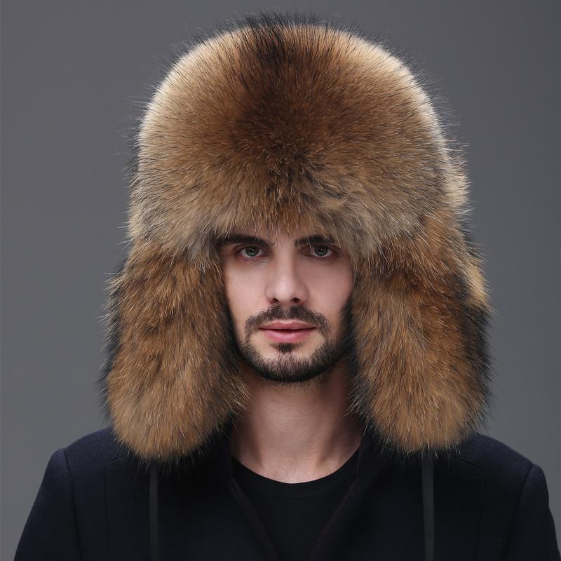 Men's Fur Hat, Winter 2021,Middle-Aged and Elderly,Leather Ear Warm Cap, Mink Thickened Fox Fur Ski Cap,Russian Cap, Leisure Cap