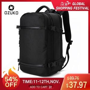 """Image 1 - OZUKO 15 """"17"""" 노트북 배낭을위한 새로운 남성 배낭 발수 다기능 가방 USB 충전 여행 배낭 대형 Mochila"""