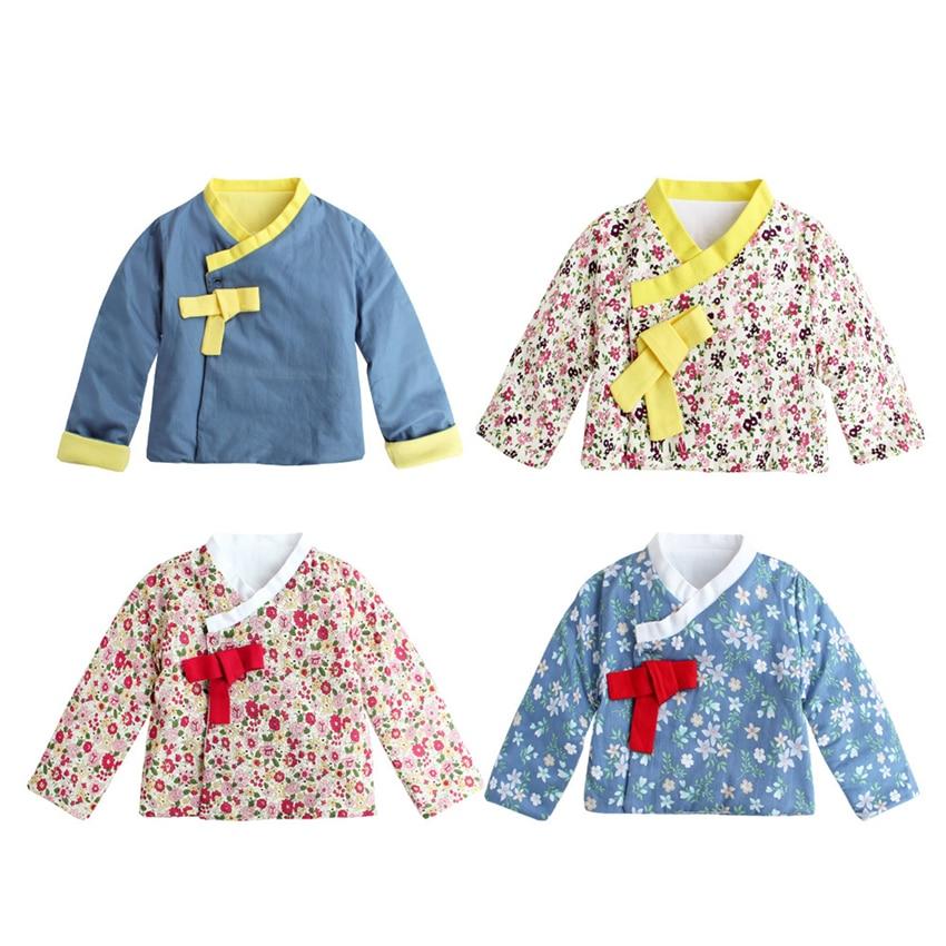 Traditional Korean Tops Girls Kimono Dress Long Sleeve Print Cotton Coat Hanbok Japanese Fashion Toddler 1-8 Years Asian Clothes