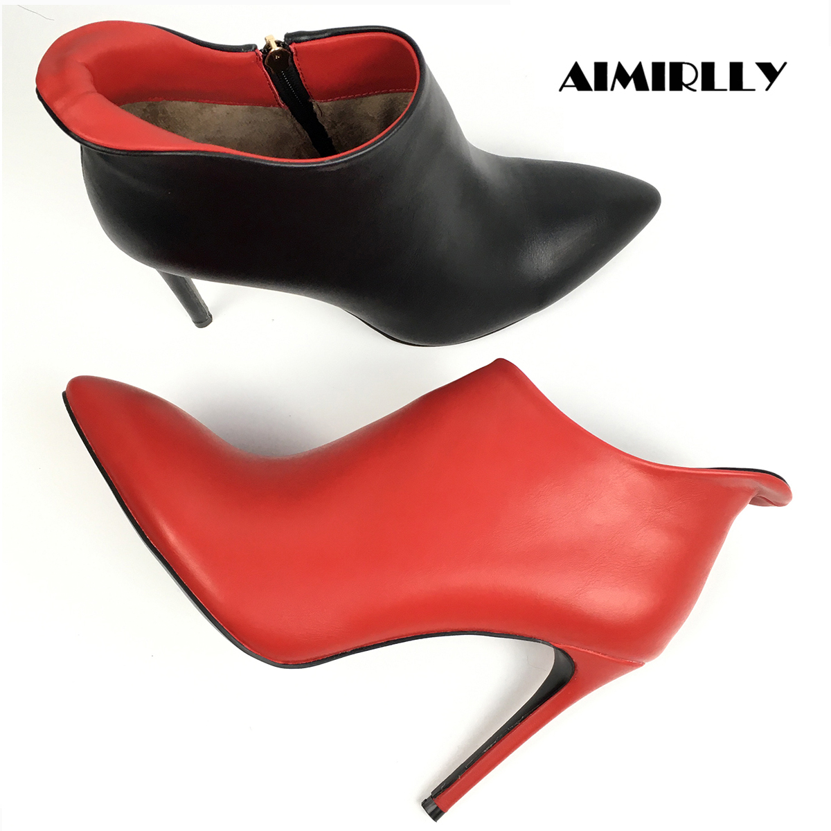 Womens Ankle Boots Red Black Colour mixing Pointed Toe High Heels Performance Shoes Ladies Winter Party Clubwear Booties