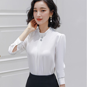 Image 3 - Naviu Soft and Comfortable Shirt Long Sleeve High Quality Blouse With Diamond Office Lady Loose Style Green Top For Women
