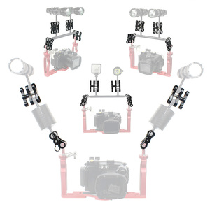 Image 3 - Aluminum Alloy 2 Hole Diving Lights Ball Butterfly Clip Arm Clamp Mount for GoPro Hero 7 6 5 4/ Xiaoyi/ Sjcam Sports Action Cam