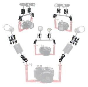 Image 3 - Soporte de abrazadera de brazo para GoPro Hero 7 6 5 4/ Xiaoyi/ Sjcam, aleación de aluminio, 2 orificios, luces de buceo, bola, mariposa