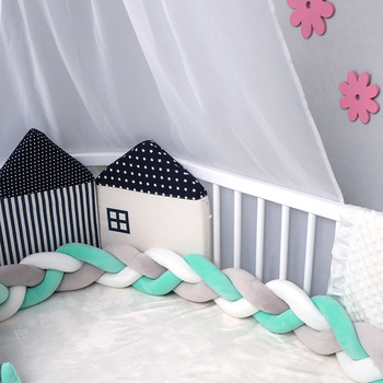 100CM Newborn Pillow Crib Baby Bumper Bed Braid Knot Pillow Cushion Bumper for Infant Bebe Crib Protector Cot Bumper Room Decor xisayababy nordic style baby bed bumper colorful baby pillow cushion baby bedding crib protector baby room decoration 200cm
