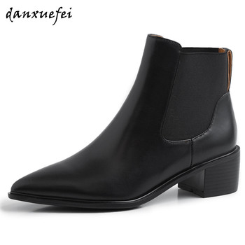 Women's real leather thick high heel pointed toe elastic patchwork slip-on autumn ankle boots casual comfort chelsea boots shoes