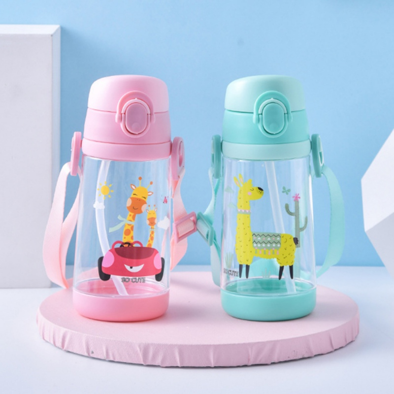 Children's Kids Drinking Cup Baby Drinking Cup Straw Cup Student Strap Drinking Cup 500ML BPA Free