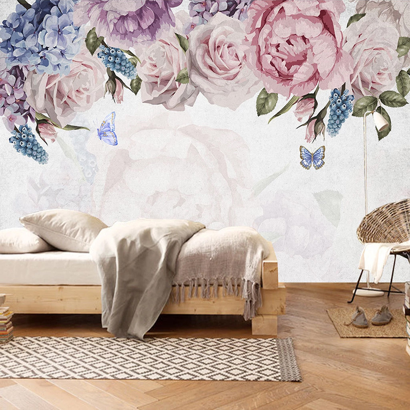 Photo Wallpaper 3D Hand-Painted Watercolor Rose Flowers Murals Living Room Bedroom Romantic Home Decor Wall Papers For Walls 3 D
