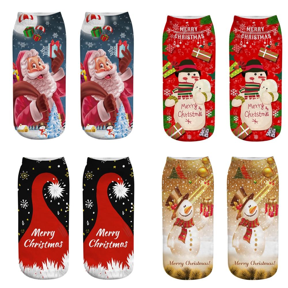 1 пара, теплые зимние рождественские носки с объемным рисунком, унисекс, олень рождественское, подарок, кавайные рождественские носки для