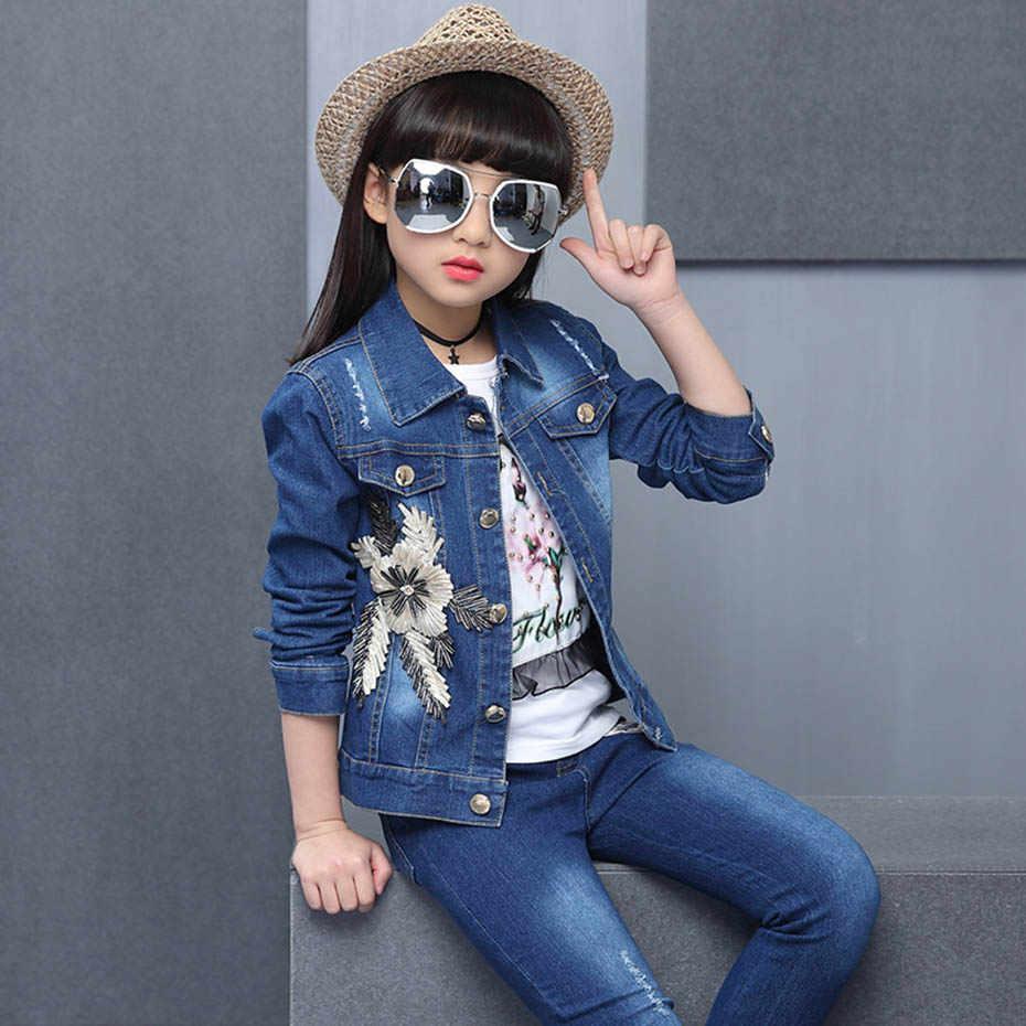 Ropa para niños apliques chaqueta de mezclilla y Jeans y camiseta 3 uds. Traje para niñas amor lentejuelas niñas trajes otoño novedad niñas traje