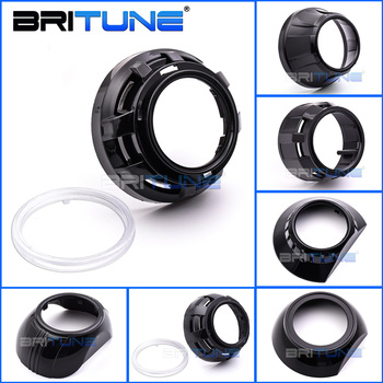Car Black Projector Shrouds For Bi-xenon Lens Hella 3R G5/Koito Q5 Headlight Lenses Dust Cover Bezel Accessories Automobiles Kit image