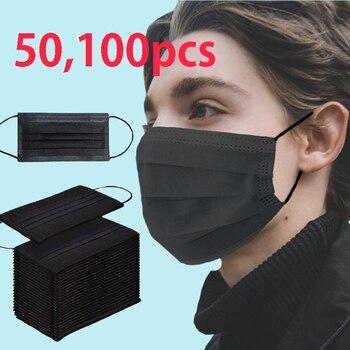 Mascarilla desechable no tejida de color negro, Mascarilla Anti-Polvo de 3 capas con filtro, mascarilla facial activada Anti-contaminación