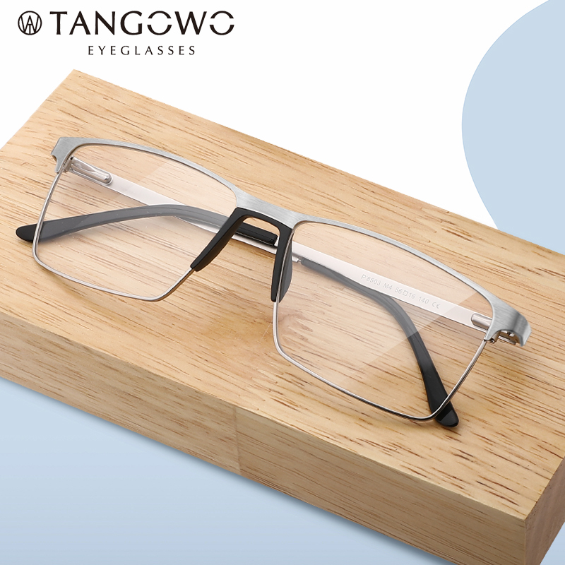 TANGOWO Men Titanium Alloy Glasses Frame Clear Lens Eyewear Optical Frame Spectacle Frames Myopia Eyewear Men Glasses Frame Male