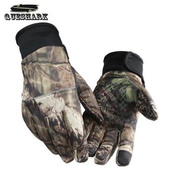 Kamuflaż rękawice wędkarskie rękawice myśliwskie antypoślizgowe 2 palce Cut Outdoor Camping kolarstwo pół palca rękawice sportowe Camo tanie i dobre opinie QUESHARK B-FF061 Anti-slip Z pełnym palcem