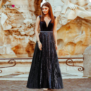 Image 3 - Evening Dresses Long Ever Pretty EP07840 Sexy Deep V neck Beading Sequined Sparkle New Formal Party Gowns 2020 Abendkleider