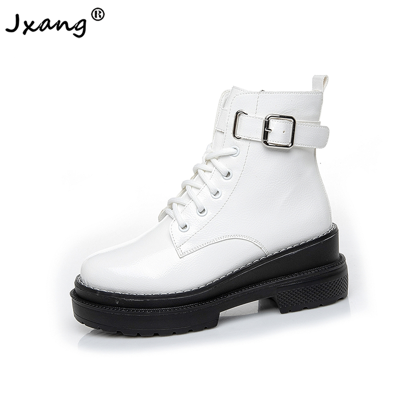 JXANG 2020 new spring autumn women's boots fashion wild thick bottom women's shoes leather short boots zipper women's boots