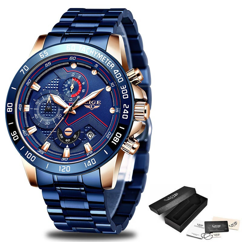 LIGE 2021 New Fashion Mens Watches with Stainless Steel Top Brand Luxury Sports Chronograph Quartz Watch Men Relogio Masculino 6