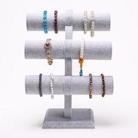 Velvet Level T Bar Bracelet Necklace Jewelry Display Stand Home Organization
