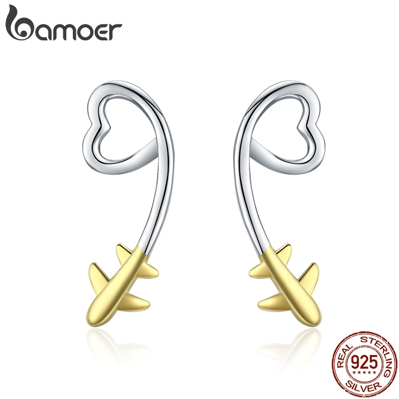BAMOER Plane Stud Earrings 2019 Sterling Silver 925 Heart-shape Long Ear Studs Jewelry Girl Gifts Korean Earrings SCE632