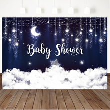 Twinkling Stars Baby Shower Background Flash Silver Stars and White Cloud Photo Background Dark Blue Sky Baby Shower Backdrops rainbow sky gold stars unicorn baby shower custom photo backdrops pink photography studio background 7x5ft