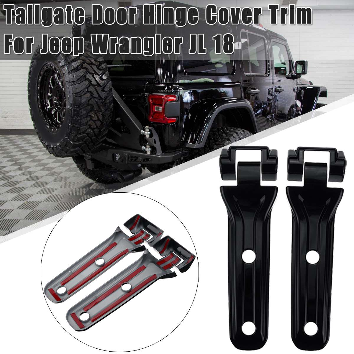 Car Exterior Rear Spare Tire Tailgate Door Hinge Cover Trims Decoration Stickers  For Jeep for Wrangler JL 2018 2019 2019 jeep wrangler front