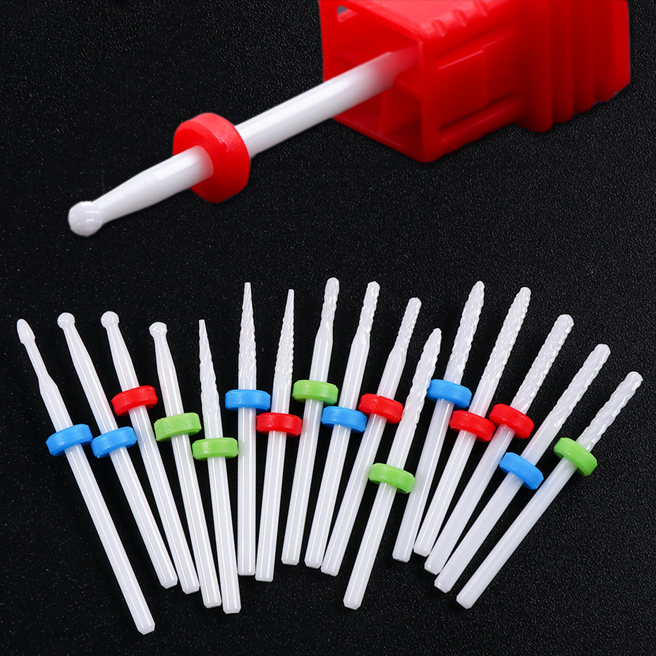 1PC Ceramics Milling Cutter Small Ball Nail Drill Bit Ceramic Burrs Manicure Dead Skin Cleaning Bit Nail Art Tools BETX01-14